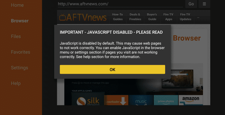Click on 'Ok' JavaScript enabled message.