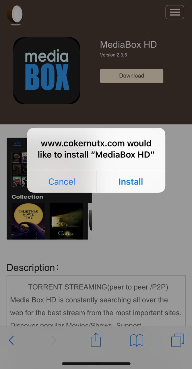 Install MediaBox HD on ios using Cokernutx