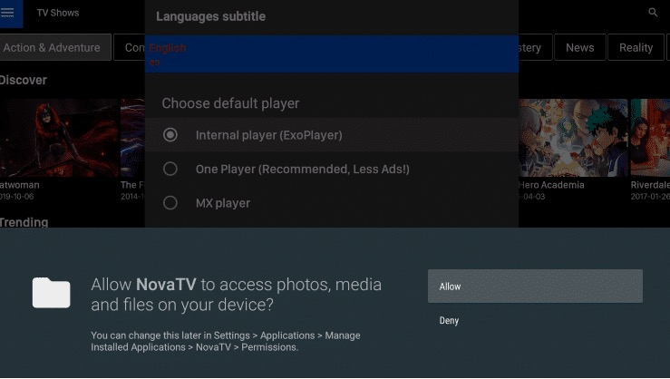 Nova TV App Interface