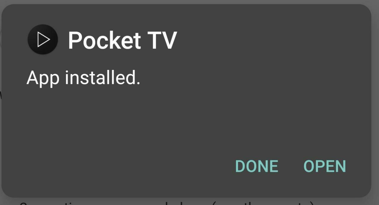 Installed Pocket TV App
