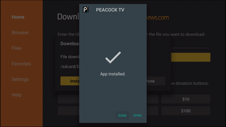 peacock tv installed firestick