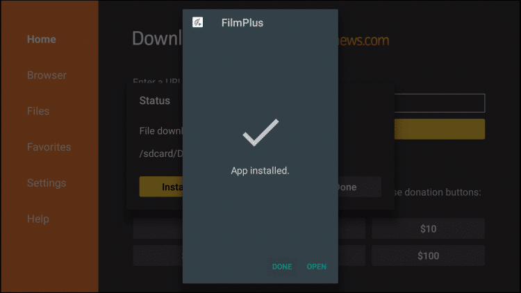 Fimplus apk installed