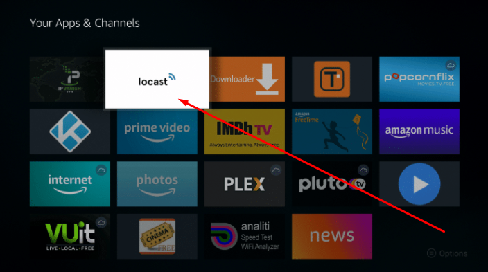 Put Locast App on top of the apps firestick