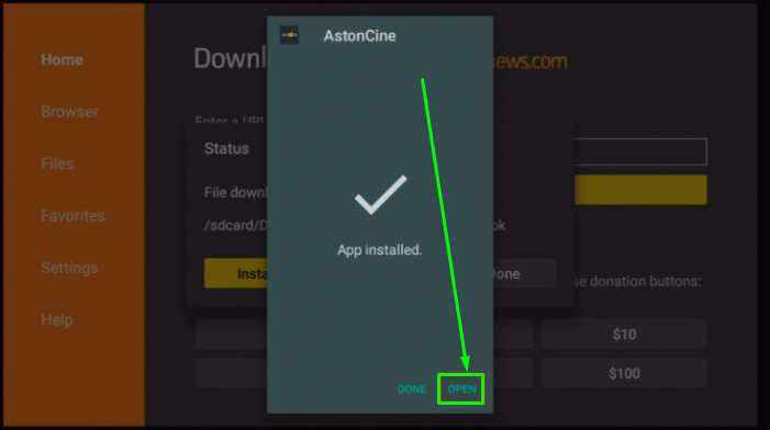 Aston Cine App Installed on Fire TV