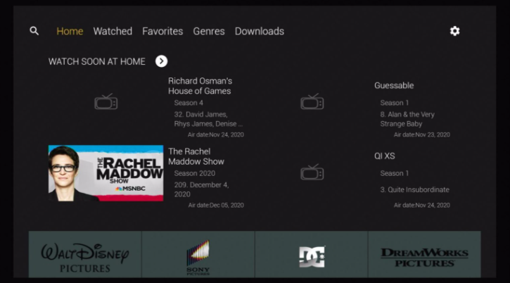 Aston Cine App User Interface Installed on FireStick